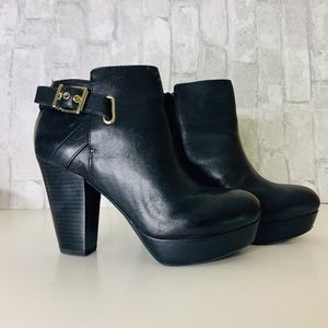 GIANNI BINI BLACK LEATHER  PLATFORM BOOTIES